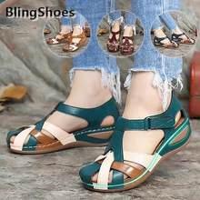 Yaz ayakkabı kadın sandalet kaymaz takozlar terlik kadın artı boyutu yuvarlak kafa sandalet gladyatör platformu plaj kadın ayakkabısı
