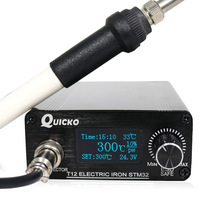 QUICKO STM32 OLED 1.3 Size T12 DIY Soldering Station With Russian Korean English Chinese T12 K Solder Soldering Iron Tips