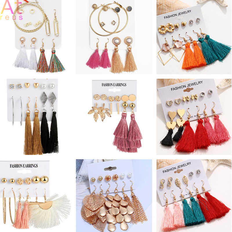 Big Circle Fashion Long Multilayer Tassel Stud Earrings Set For Women Girl Bohemia Geometric Earring 2019 Jewelry Christmas Gift