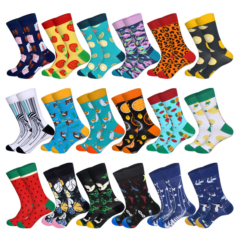 2019 Women&Men Colorful Novelty Cotton Happy Socks 24Colors Fruit Zebra Watermelon Men Brand Street Fashion Art Socks Men Gifts