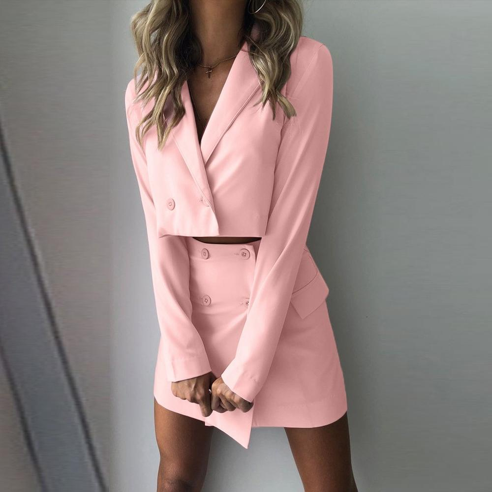 2019 Fashion Blazer Mujer Women Two Piece Suit Short Jacket+Skirt Hip Slim Fit Coat High Waist Skirt Women Set Blazer Feminino