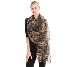 Fashion Woman Voile Georgette Printing Mosaic Scarf Summer Light Breathable Beac