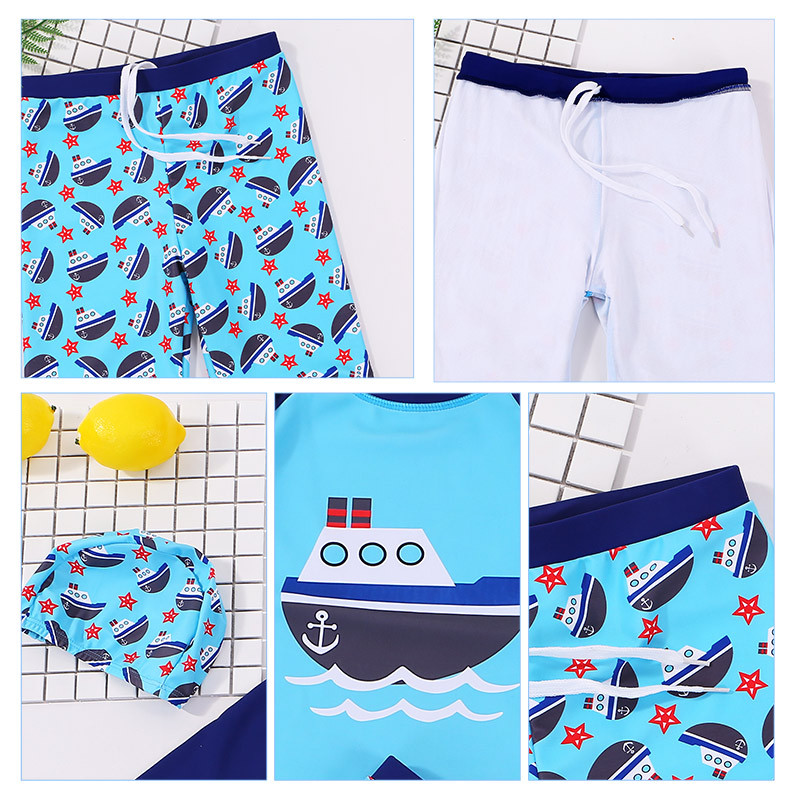KID'S Swimwear BOY'S Split Type Swimming Trunks Set Boy Big Boy Long Sleeve Sun Blocking Swimwear Small CHILDREN'S Baby Swim Bat