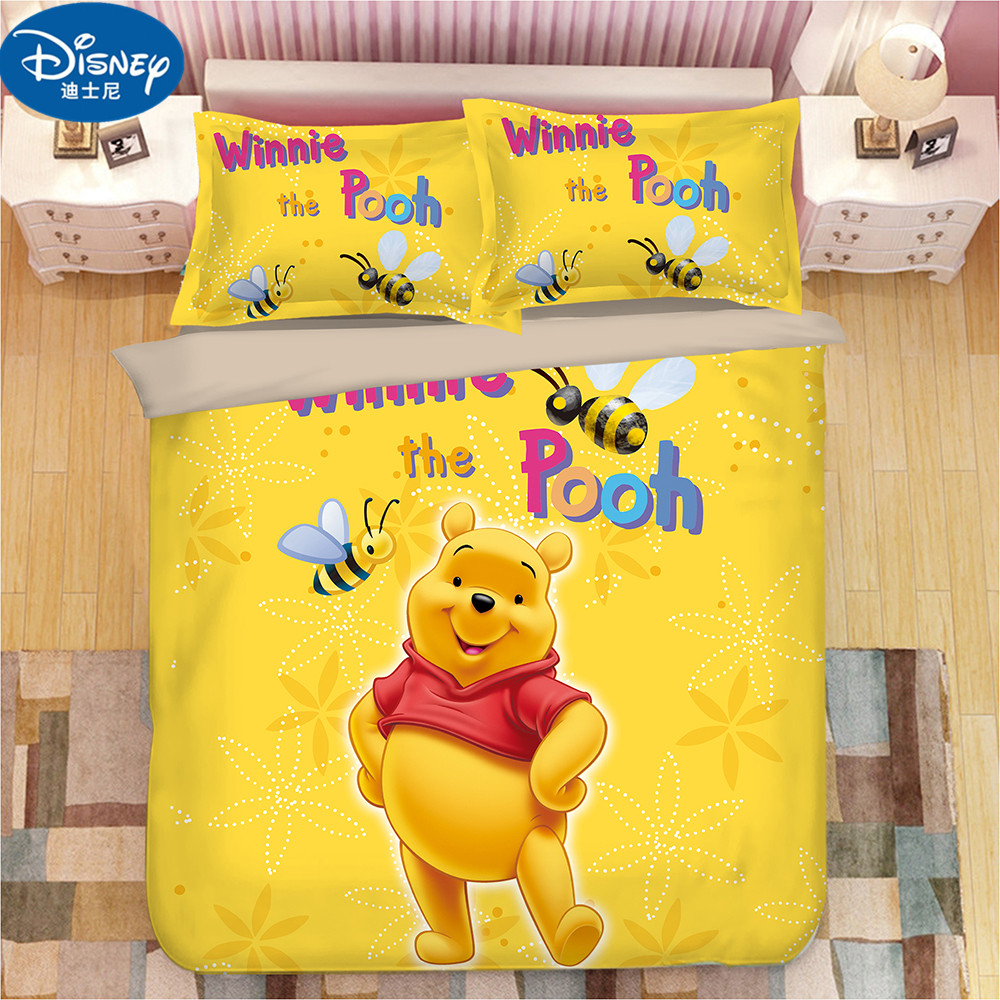 Yellow Winnie Mickey Mouse Minnie Mouse Duvet Cover Set 3 Pieces Twin Single Size Bedding Set For Children Bedroom Decor
