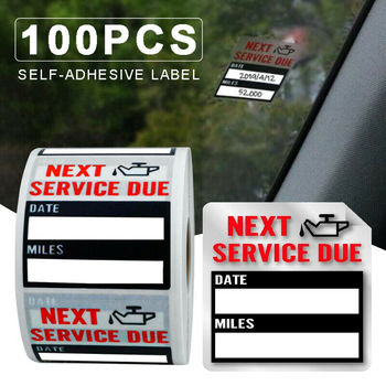 5/100PCS Oil Change Maintenance Service Reminder Stickers Window Sticker Adhesive Labels Car Sticker NEXT SERVICE DUE image