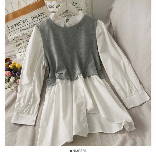 Spring Patchwork Fake Two Piece Shirts Women Autumn Irregular Puff Sleeve Causal Tops Vintage Sexy Stand Collar Blouse Femme 8