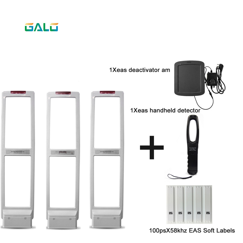 High quality EAS anti theft system with soft tag and deactivater and  frequency tester (1 master and 2 slaves) EAS System     - title=
