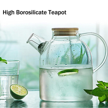 1000/1800ml High Borosilicate Glass Heat Resistant Teapot Coffee Water Jug with Wooden Lid Glass Bottle Puer Kettle Teaware