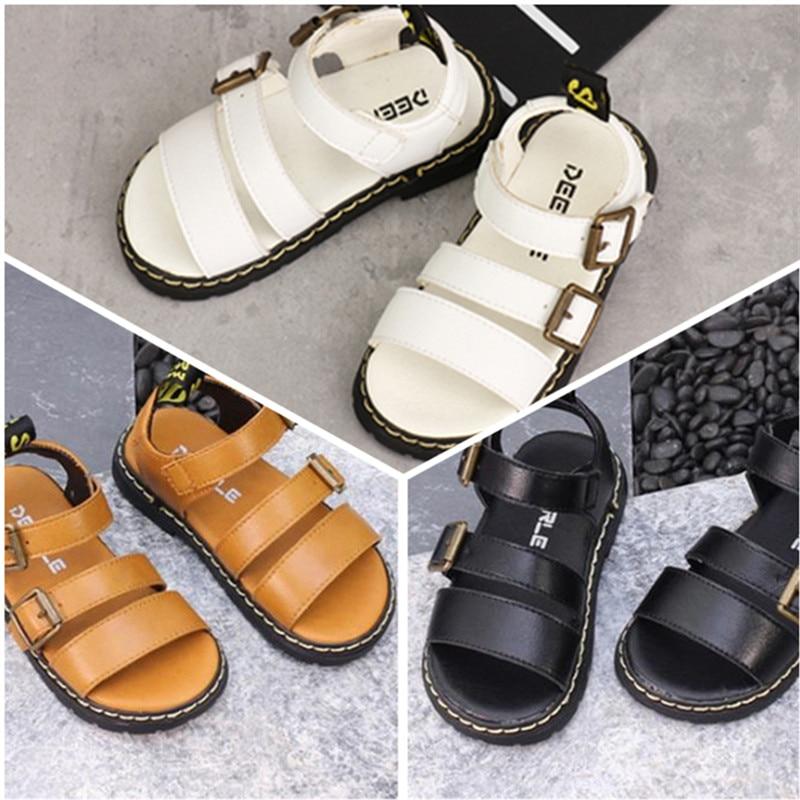 2020 New Summer Childrens Sandals Korean Metal Buckle Boys Sandals Girls Solid Color Open Toe Shoes Kids Toddler Sandals