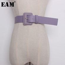 [EAM] 2021 New Summer Candy Color Pu pelle fibbia quadrata breve ampia cintura lunga moda donna marea All-match JF482