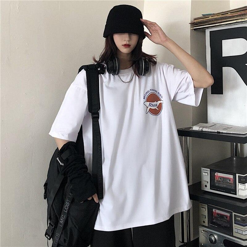 Plus Size Kawaii Korean Summer Vintage White Cartoon Features Printing Loose Hip Hop T-Shirts Women Top Casual Tee Shirts Female