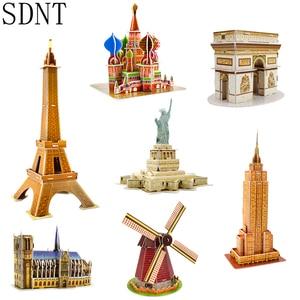 Image 1 - Karton bina modeli 3D oyuncaklar bulmacalar çocuklar için DIY dünyaca ünlü kule köprüsü beyaz ev yap boz eğitici oyuncaklar hediyeler