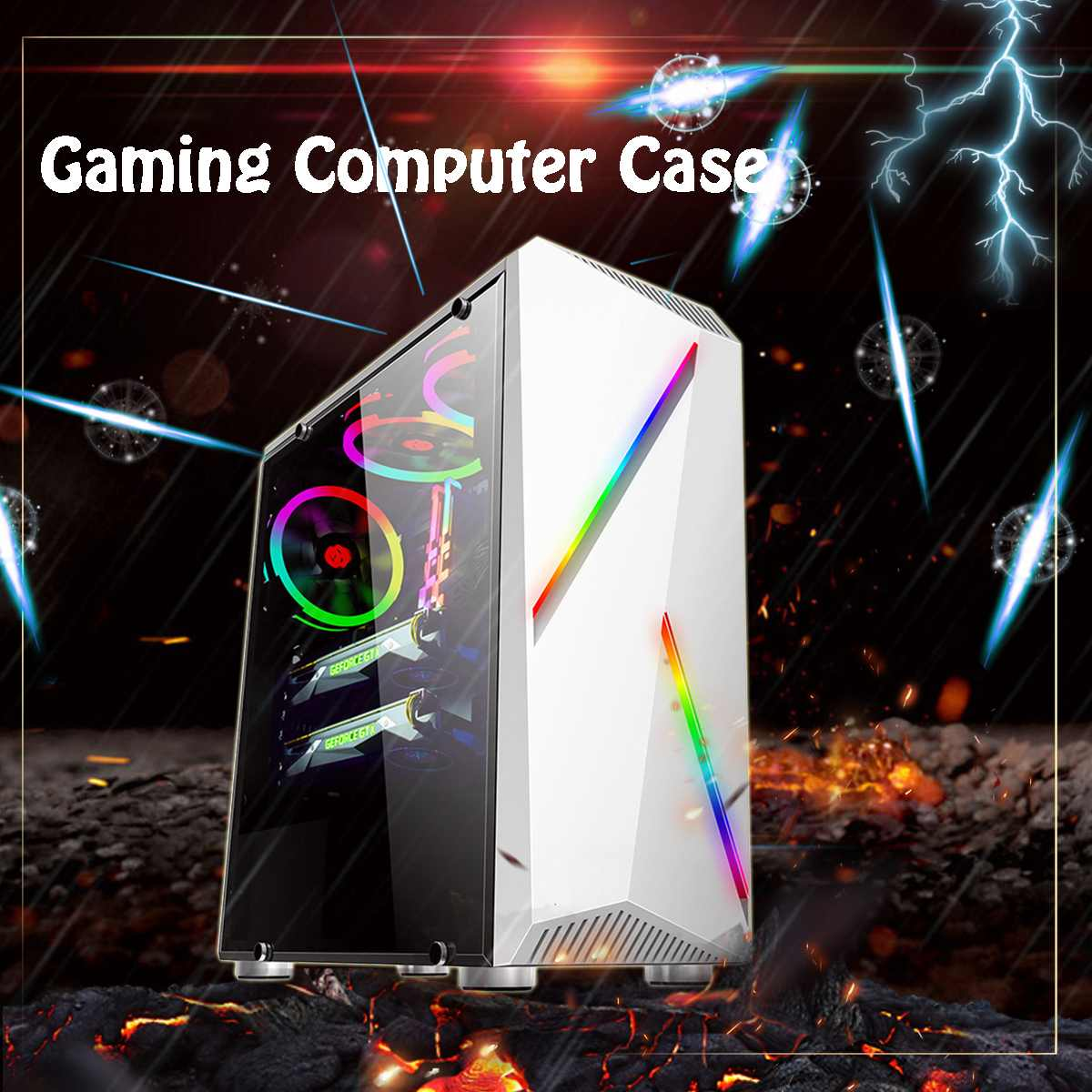 LEORY Transparente Computer PC Case Gaming ATX Audio with 2 RGB Color Changing Light Strips 350X170X420mm|Fans & Cooling| |  - title=