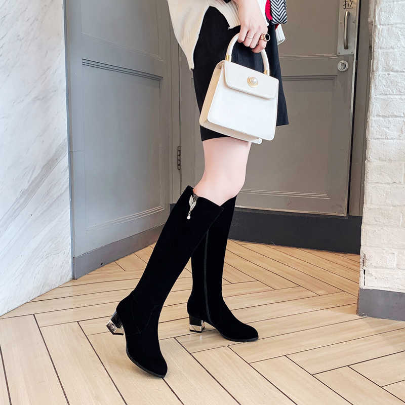 Mi-mollet bottes à la main fermeture éclair chaussures à talons carrés décontracté solide talon haut femmes tissu + bottes en cuir de vache élégant grande taille 33-43