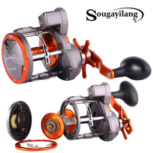 Sougayilang LS30 LS40 Line Counter Trolling Reel Conventional Level Wind Cast Drum Fishing Reel 6+1BB with Digital Display