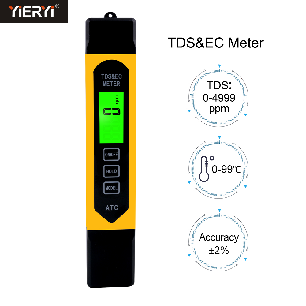 New 3 In 1 Multifunction Digital TDS EC Meter Temperature ATC Tester Pen Conductivity Water Measurement Analyzer With Backlight