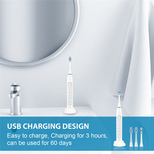 Image 4 - Sonicool 051B Elektrische Tandenborstel Usb Oplaadbare Ultrasone 48000 Rpm Tand Borstels Met 4 Pcs Dupont Opzetborstels