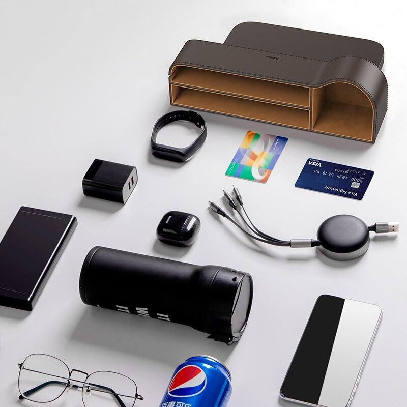 Image 5 - Baseus Car Storage Baskets Box Organizer Seat Gap PU Case Pocket Car Seat Side Slit For Organizer Wallet Keys Phone HoldersStowing Tidying   -