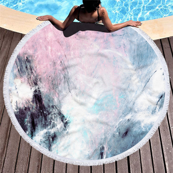 Marble Large Round Beach Towel For Adult Colorful Quicksand Pattern Microfiber Shower Bath Towel Travel Blanket Swimming Cover Beachwear Ρούχα MSOW