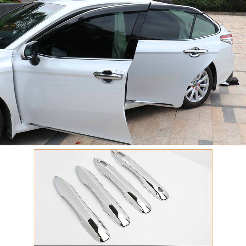 For Toyota Camry <font><b>70</b></font> XV70 8th MK8 <font><b>2018</b></font> 2019 Car Door Handle Cover Trim Auto Silver Chrome Stickers Car Styling Accessories image