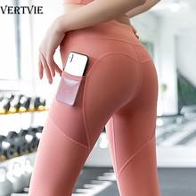 Vertvie calças de yoga elástico esporte leggings de cintura alta collants calças esportivas bolsos laterais empurrar para cima correndo ginásio fitness leggings