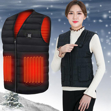 Heating Jackets Women Vest USB Electric Heated Hooded Down Cotton Outdoor Coat Winter Thermal Warmer Jackets Chaleco Mujer