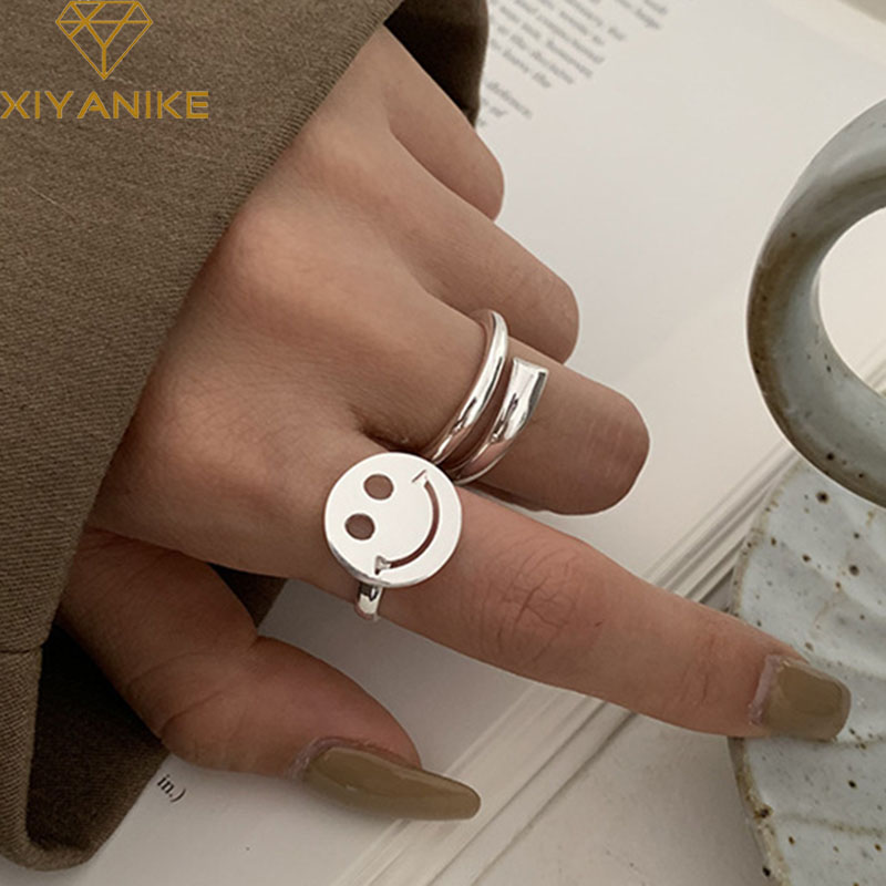 XIYANIKE 925 Sterling Silver Minimalist Smiling Face Rings For Women Wedding Couple Simple Geometric Handmade Ring Party Jewelry