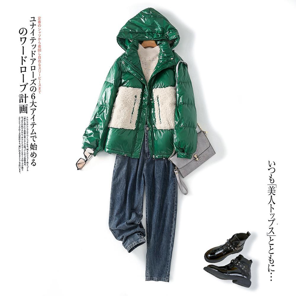 Женский зимний пуховик 2020 года, Короткая Толстая куртка в стиле пэчворк, парка на белом утином пуху, женская зеленая верхняя одежда, пальто|Парки| | АлиЭкспресс