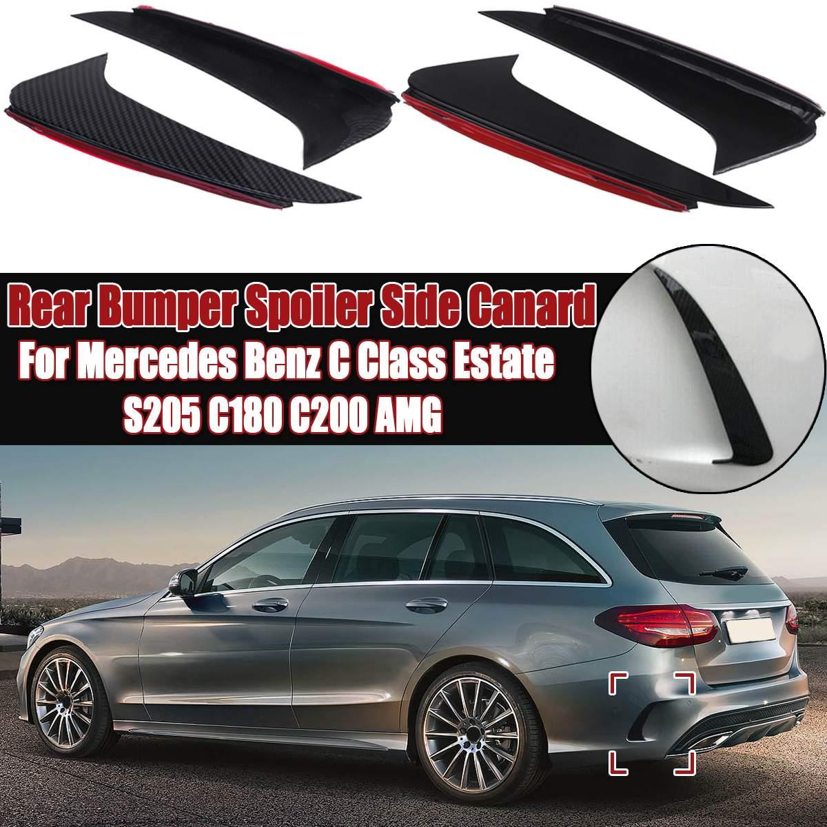 Левый Правый задний бампер, спойлер, боковая утка для Mercedes Benz класса C Estate S205 C180 C200 Для AMG, глянцевый черный/карбоновый вид