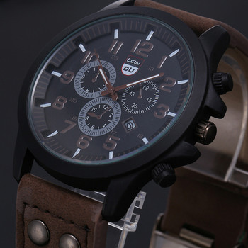 цена на Waterproof military leather date analog quartz army men's quartz watch men's wrist party decoration costume dress watch gift