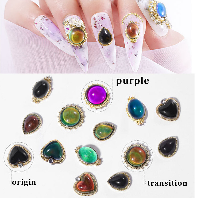 Temperature Color Change Nail Rhinestones Diamonds 3D Raindrop Crystal Flash Luxury Manicure Opal Alloy Nail Jewelry Accessories