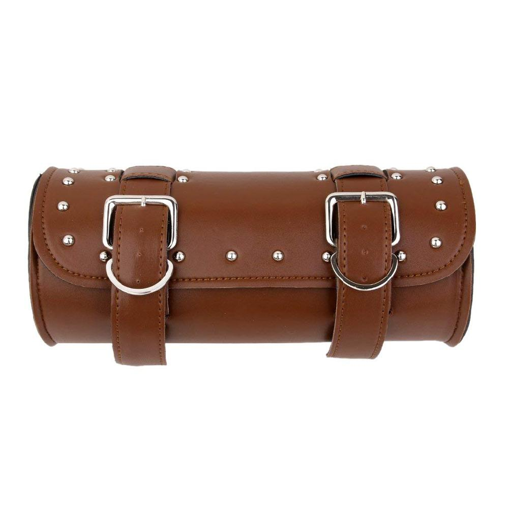 Moto Brown Leather Motorcycle Luggage Tool Roll Saddle Bag Protective Pouch Case Motorbike Motorcross Saddle Bag Accessories