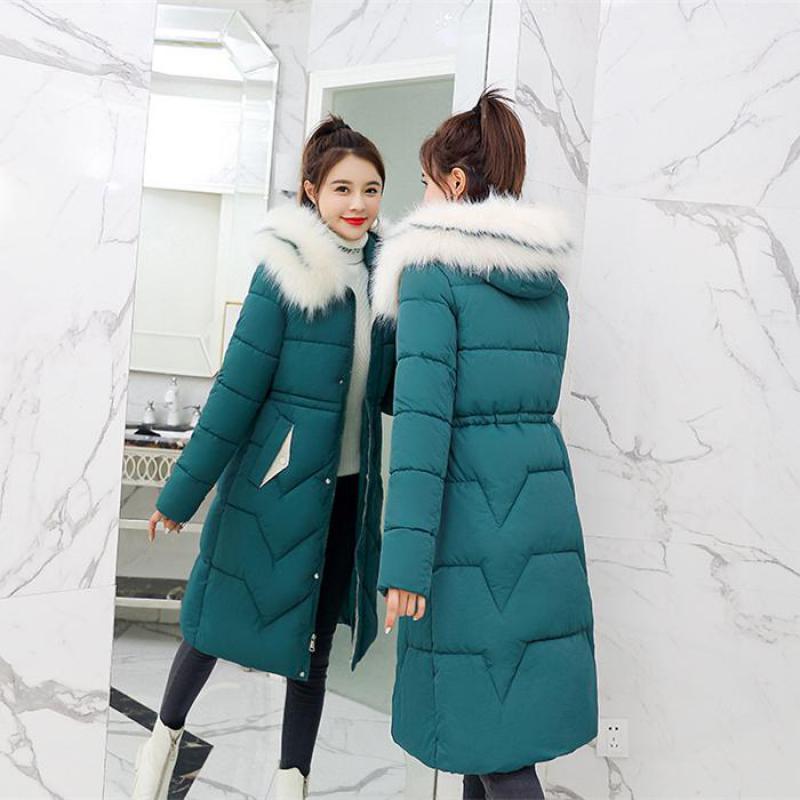 Long Parka 2019 Arrival Fashion Slim Women Winter Jacket Cotton Padded Warm Thicken Ladies Coat Long Coats  Womens Jackets 3XL