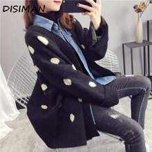 DISIMAN  sweaters Coat korean style women long sleeve knitted sweater casual plus size black cardigan v neck ladies winter tops