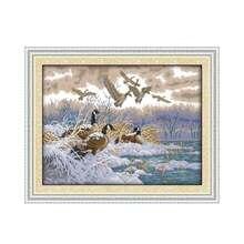 Joy sunday Набор для вышивки крестиком Летающие птицы в снежный