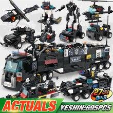 Yeshin город полиция строительные игрушки SWAT грузовики корабль вертолет строительные блоки кирпичи Playmobil игрушки для детей Подарки