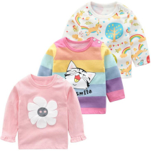 От 0 до 3 лет футболка для маленьких девочек футболка детские футболки с длинными рукавами из хлопка, осенняя одежда детская футболка с рисунком