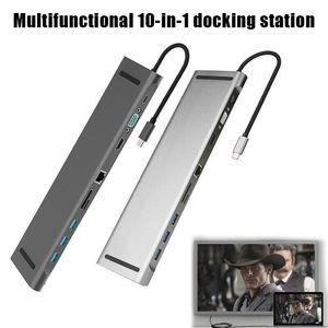 10 в 1 мульти USB C концентратор к HDMI VGA USB 3,0 RJ45 3,5 мм аудио адаптер для Samsung S8 Huawei Mate 10 для MacBook Type C HUB