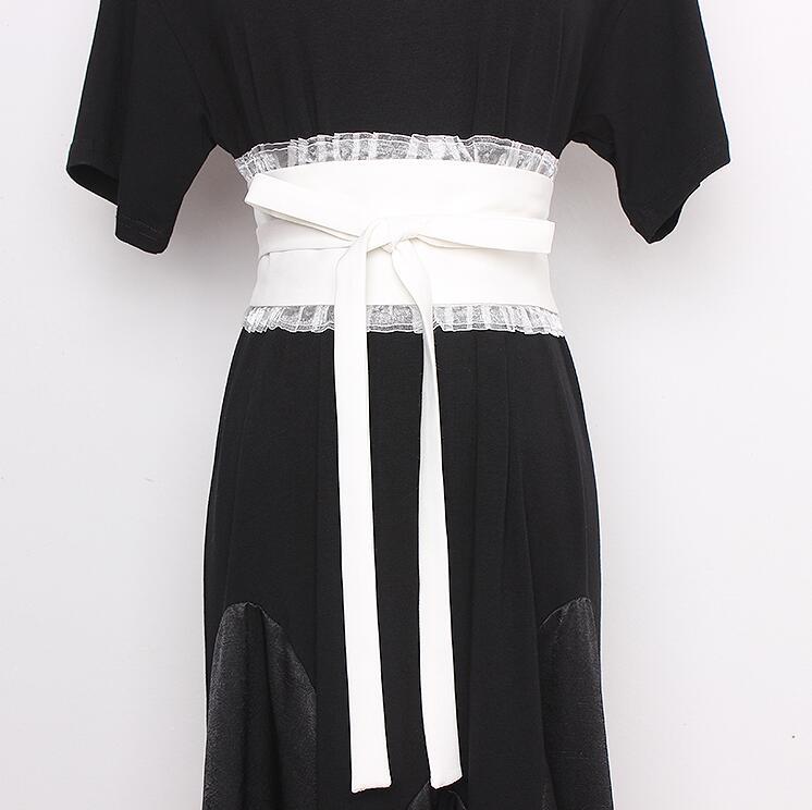 Women's Runway Fashion Lace Patchwork Fabric Cummerbunds Female Dress Corsets Waistband Belts Decoration Wide Belt R2333