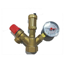 цена на Brass exhaust safety pressure relief boiler valve assembly with pressure gauge DN25 Room temperature one way two way