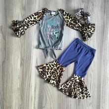 Jesień/zima dziewczynek ubrania dla dzieci zestaw stroje boutique leopard jezus mleka krawat jedwabny węzeł top spodnie bawełna ruffles mecz łuk