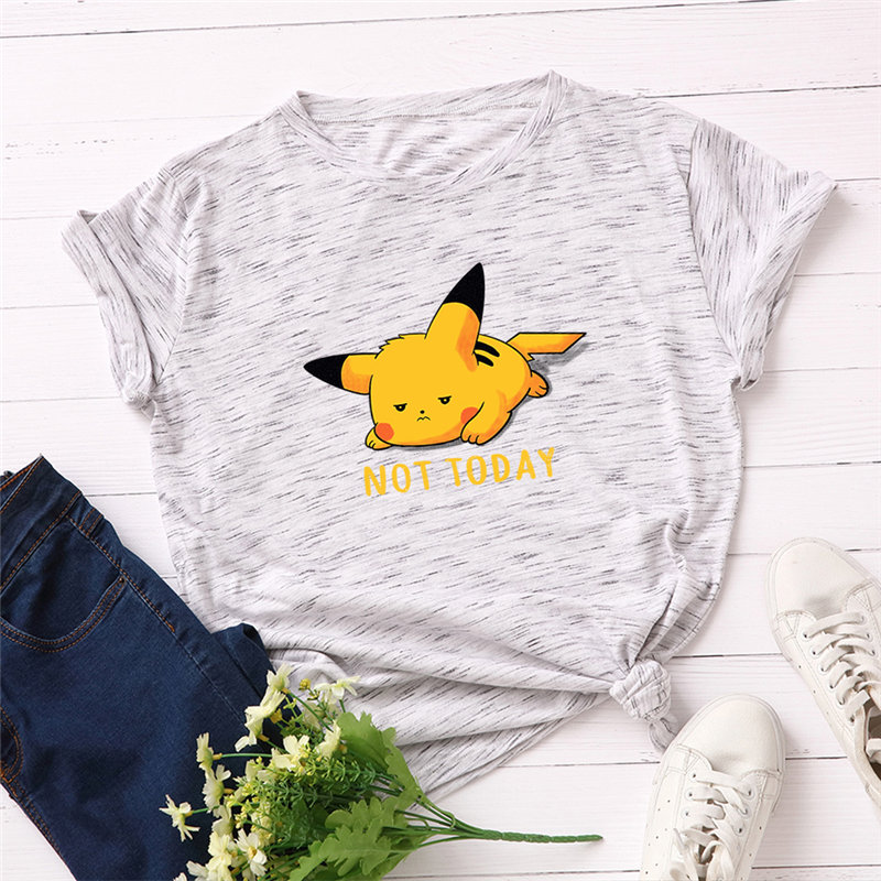 Fashion 100% Cotton Female T-shirts Short Sleeve Plus Size Women T Shirt Pikachu Printing Harajuk Tops Tees Femme S-5XL