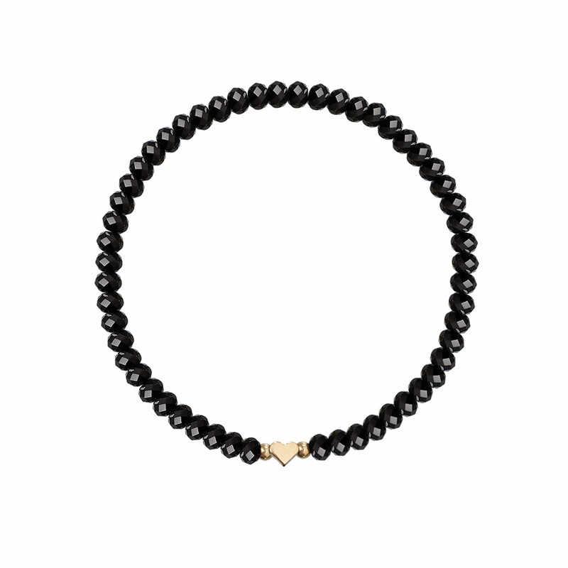 VAGZEB 5 יח'\סט זהב צבע מפת לב צמיד סט שחור אבן חתונה צמיד לאישה