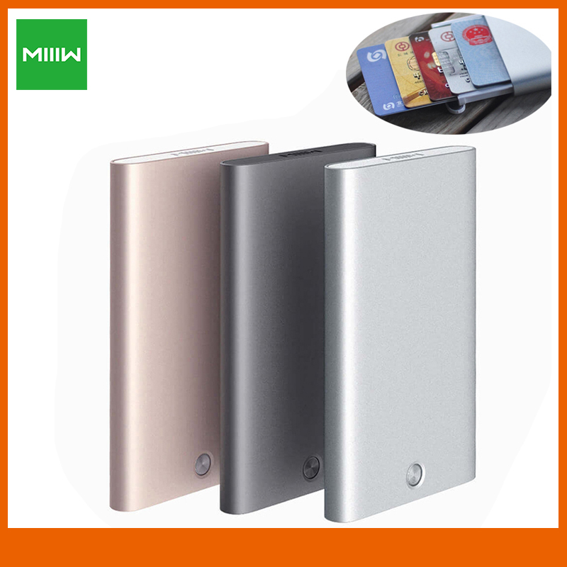 MIIIW Card Holder Stainless Steel Silver Aluminium Credit Card Case Women Men ID Card Box Case Pocket Purse