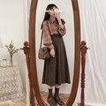 Neue EINE Linie solide Frauen Röcke Plissiert neue Herbst Plus Größe Knie Länge Rock Weibliche Vintage Wildleder Röcke Jupe Femme faldas Mujer