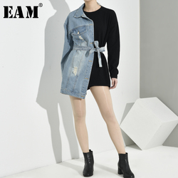 Женская свободная толстовка EAM, черная джинсовая толстовка с круглым вырезом и длинным рукавом, большие размеры, весна-осень 2020, 1H8390