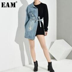 [EAM] Loose Fit Black Denim Bandage Sweatshirt New Round Neck Long Sleeve Women Big Size Fashion Tide Spring Autumn 2020 1H8390