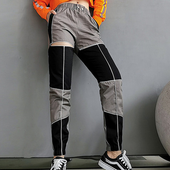 Hollow Out Trousers Panelled Patchwork Pants Women Joggers Streetwear High Waist Pencil Pants Fashion Ankle-length Cargo Pants