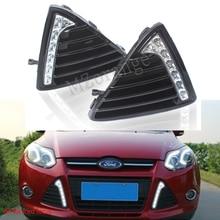цена на 1 pair Daytime Running Lights For Ford Focus 3 MK3 2012~2014 white DRL LED Fog Lamp Cover fog lights