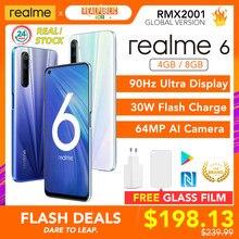 Realme 6 Globale Version Handy 4GB / 8GB RAM 128GB ROM 30W Blitz Charge 4300mAh Helio G90T 64MP Kamera NFC EU Stecker